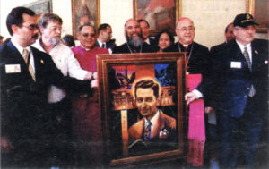 presentation of portrait of Blessed Carlos Manuel Rodríguez by artist A.VonnHartung at Pontifical North American College 29 April 2001