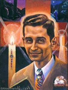 Vivimos para esa noche, oil portrait of Blessed Carlos Manuel Rodríguez Santiago by A.Vonn Hartung