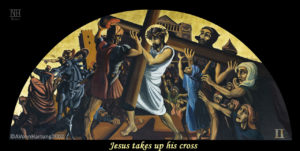 Jesus takes up his cross, ViaCrucis station 2 painting by A.Vonn Hartung