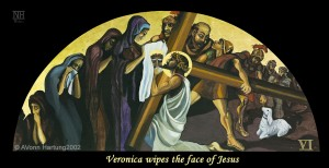 "ViaCrucis station 6 painting ""Veronica wipes the face of Jesus"" by A.VonnHartung"