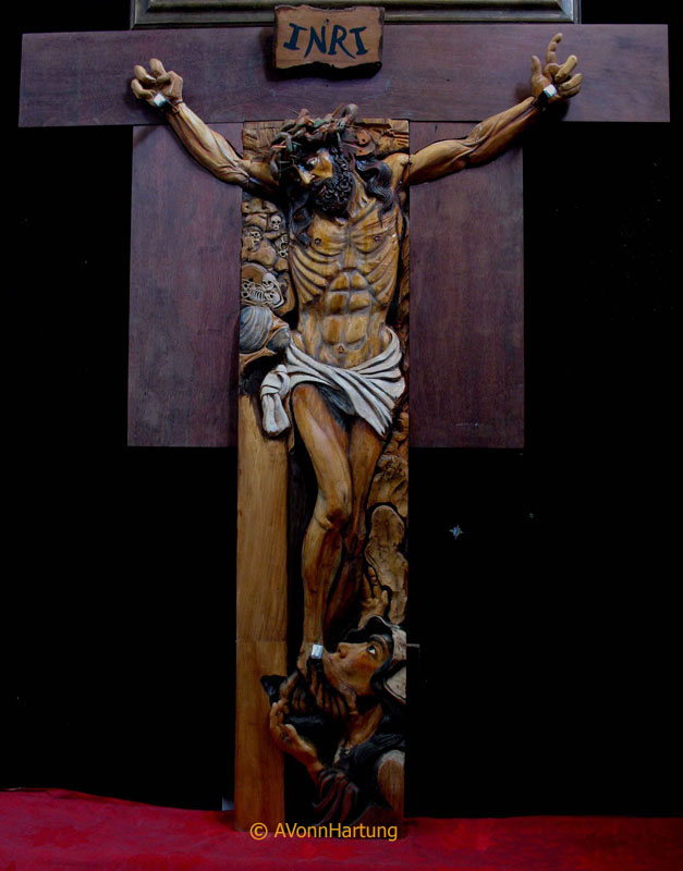 """""""Forgive them Father"""" wood sculpture high relief by AVonnHartung"""