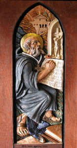St.Benedict of Nursia ceramic sculpture High relief by AVonnHartung for private collection (Puerto Rico)