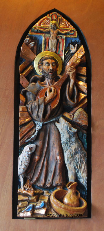 St.Francis of Assisi ceramic sculpture by AVonnHartung