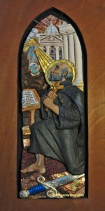 St. Ignatius of Loyola_ceramic sculpture high relief by AVonnHartung for private collection (Puerto Rico)