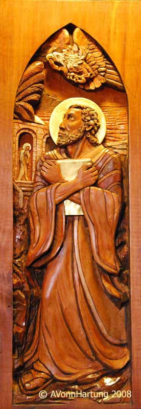 St. John Evangelist high relief wood sculpture by AVonnHartung for St. Paul's Catholic Church (Pensacola, Florida)