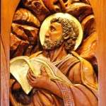 St. Luke high relief wood sculpture by AVonnHartung for St. Paul's Catholic Church (Pensacola, Florida)