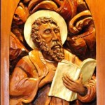 St. Mark high relief wood sculpture by AVonnHartung for St. Paul's Catholic Church (Pensacola, Florida)