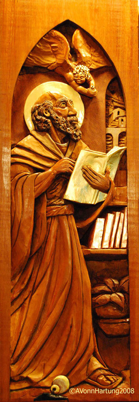 St. Matthew high relief wood sculpture by AVonnHartung for St. Paul's Catholic Church (Pensacola, Florida)