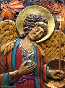 St. Michael Archangel Icon high relief wood sculpture by AVonnHartung (Artist's Collection)