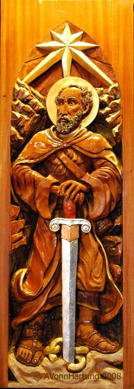 St. Paul high relief wood sculpture by AVonnHartung for St. Paul's Catholic Church (Pensacola, Florida)