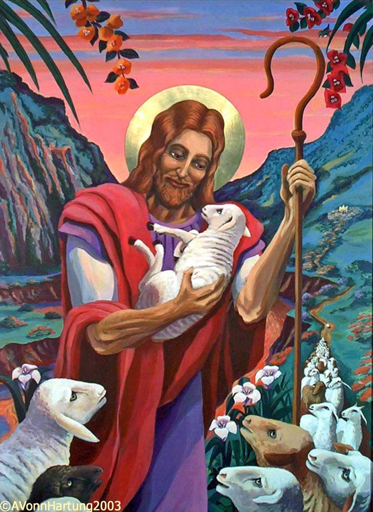 "Yo soy El Buen Pastor/I am The Good Shepherd painting (closeup) by A.VonnHartung, in ""El Buen Pastor"" church (Guaynabo, Puerto Rico)"