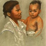 """Mother and Child"" pastel portrait by AVonnHartung"
