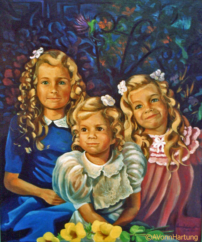 """Sisters"" oil portrait by AVonnHartung"