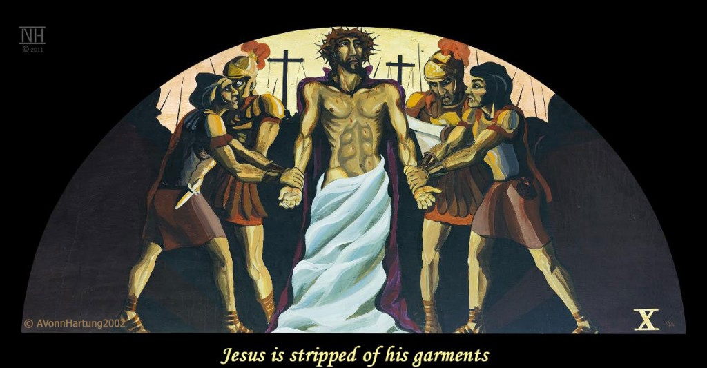 Jesus is stripped of his garments. ViaCrucis station 10 painting by AVonnHartung