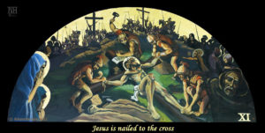 Jesus is nailed to the cross. ViaCrucis station 11 painting by AVonnHartung