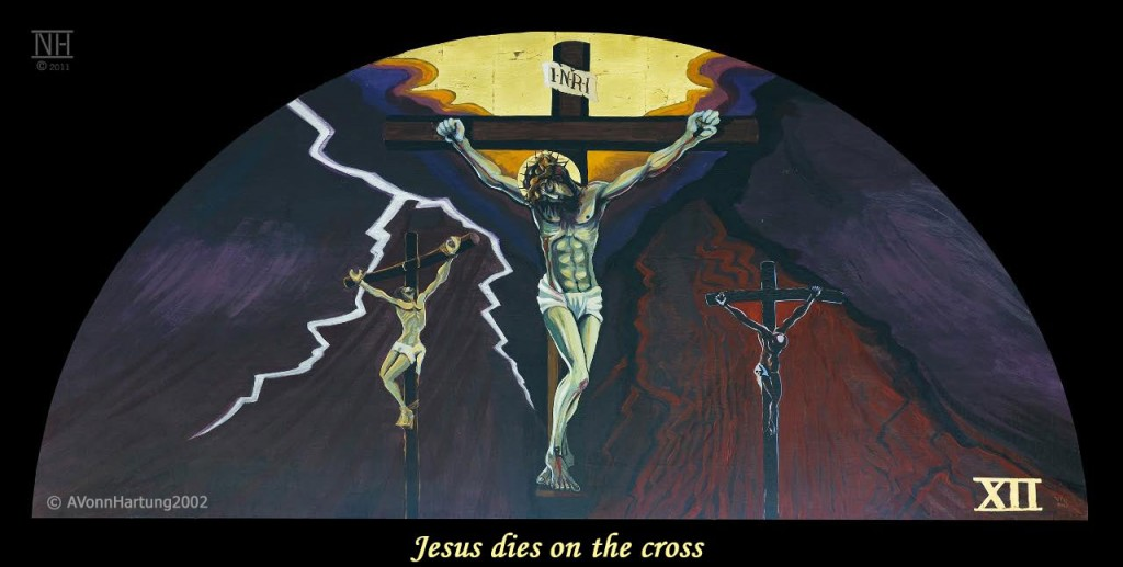 Jesus dies on the cross. ViaCrucis station12 painting by AVonnHartung