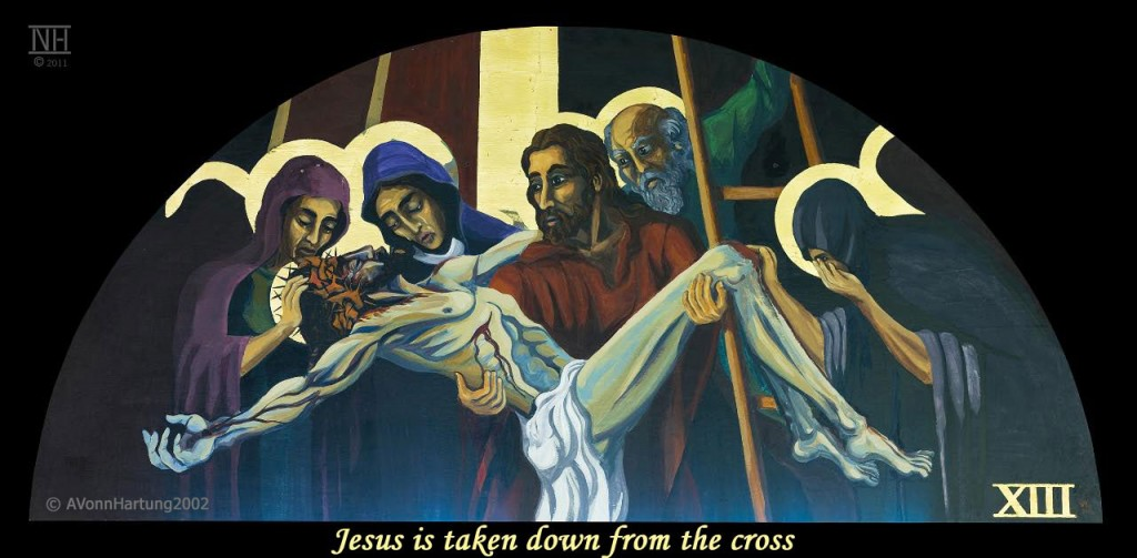 Jesus is taken down from the cross. ViaCrucis station 13 painting by AVonnHartung