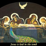 Jesus is laid in the tomb. ViaCrucis station 14 painting by AVonnHartung