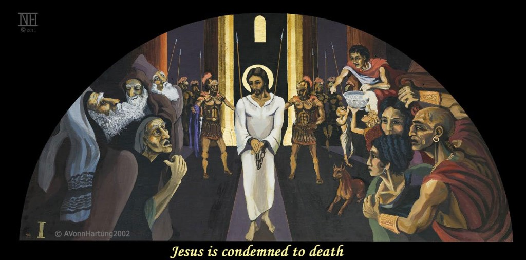 Jesus is condemned to death. ViaCrucis Station 1 painting by AVonnHartung