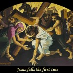 Jesus falls the first time. ViaCrucis station 3 painting by AVonnHartung