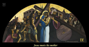 Jesus meets his mother. Via Crucis station 4 painting by AVonnHartung