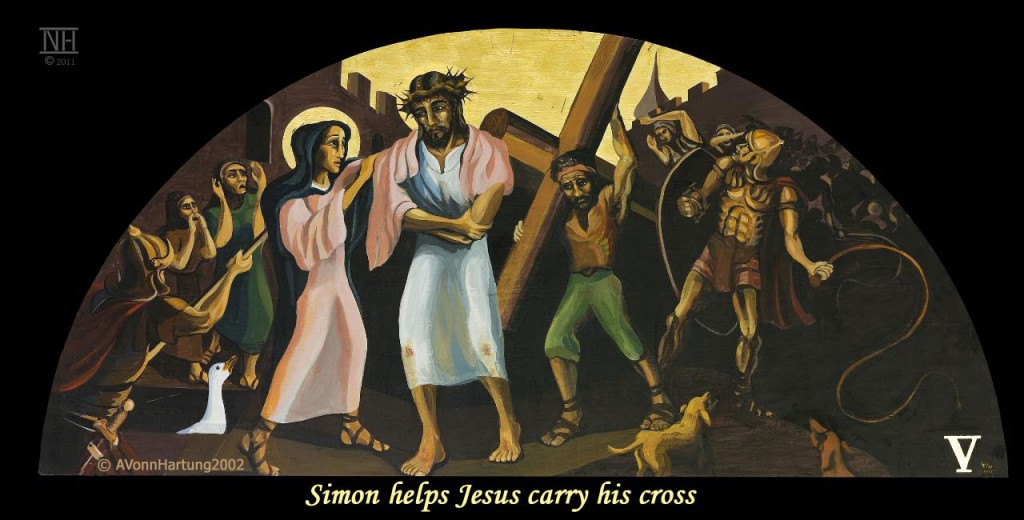 Simon helps Jesus carry his cross. ViaCrucis station 5 painting by AVonnHartung
