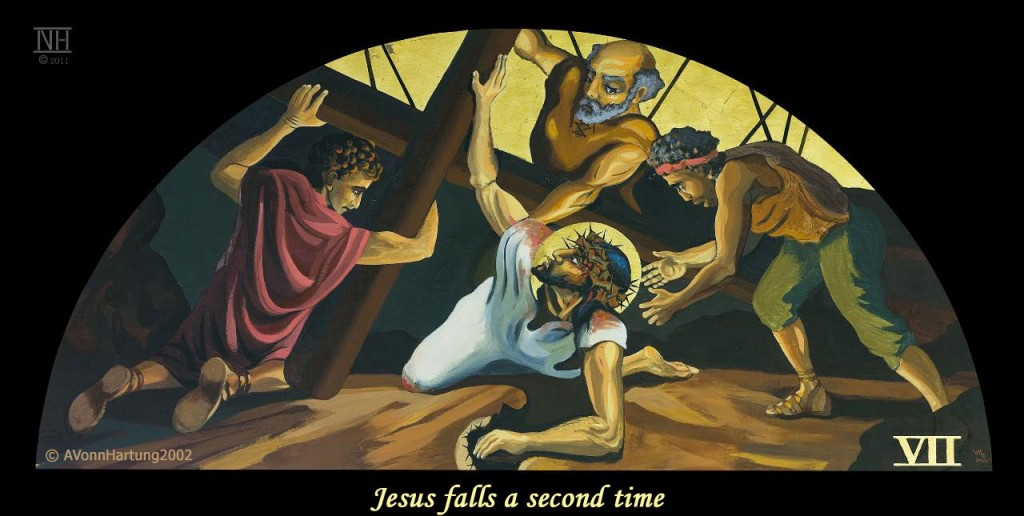 Jesus falls a second time. ViaCrucis station 7