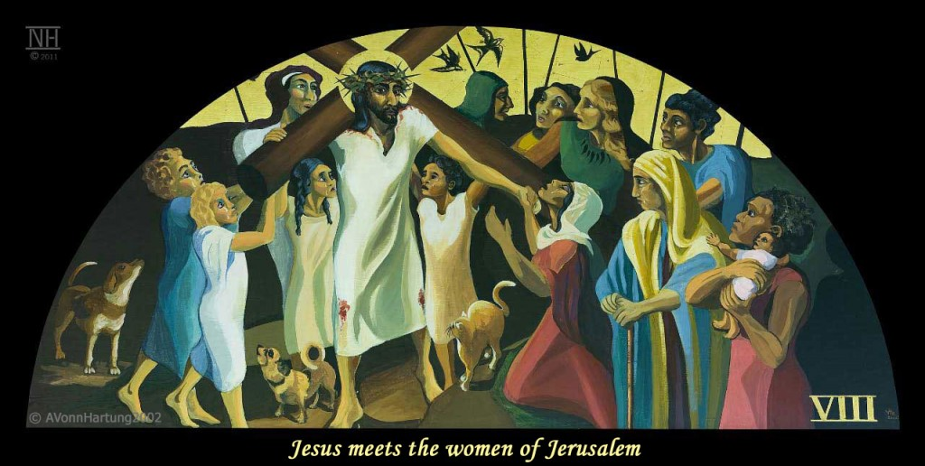 Jesus meets the women of Jerusalem. ViaCrucis station 8 painting by AVonnHartung