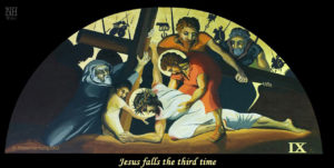 Jesus falls the third time. ViaCrucis station 9 painting by AVonnHartung