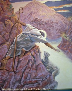 "El Buen Pastor/Good Shepherd painting by AVonnHartung (after A.Soord ""The Lost Sheep"")"