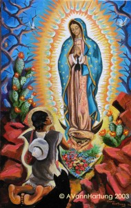 """Apparition of Our Lady of Guadalupe with St. Juan Diego"" painting by AVonnHartung"