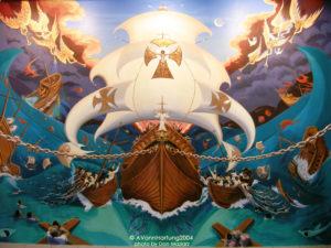 """El Sueño de las Dos Columnas"" San Juan Bosco/ ""The Dream of the Two Columns"" mural closeup by AVonnHartung, in Capilla San Juan Bosco (Orocovis, Puerto Rico)"