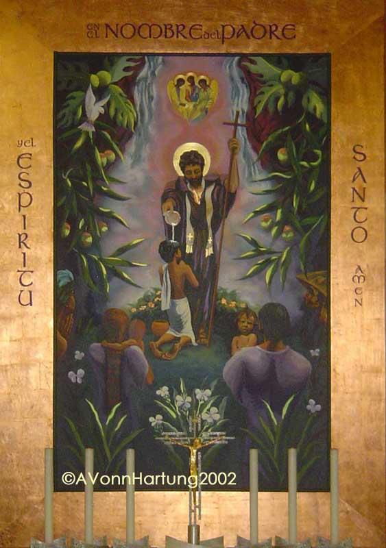 """""""En el Nombre del Padre..."""" San Francisco Javier Baptizing, retablo painting by AVonnHartung, in Parroquia San Francisco Javier (Trujillo Alto, Puerto Rico)"""