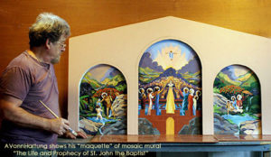 "Artist AVonnHartung displays his maquette of MosaicMural ""The Life and Prophecy of St. John the Baptist"" in Orocovis, Puerto Rico"