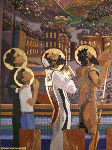 """The Life and Prophecy of St. John the Baptist"" MosaicMural (closeup 4 saints) by AVonn Hartung in Orocovis Puerto Rico"