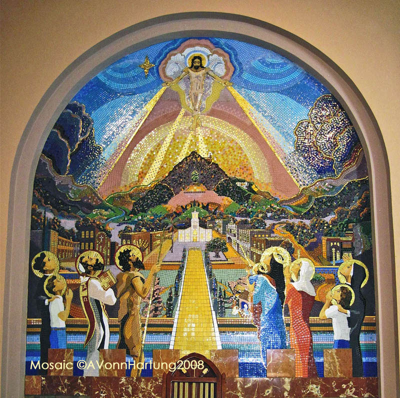 """The Life and Prophecy of St. John the Baptist""MosaicMural (central arch) by AVonnHartung in Orocovis, Puerto Rico"