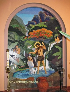 """The Life and Prophecy of St. John the Baptist"" MosaicMural (left arch) by AVonnHartung in Orococis, Puerto Ricov"
