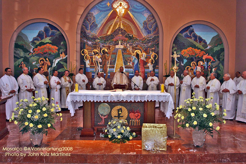 """The Life and Prophecy of St. John the Baptist"" MosaicMural by AVonnHartung in Orocovis, Puerto Rico, shown at the ""Boda de Oro"" mass of Padre Demetrio Coello, SDB"