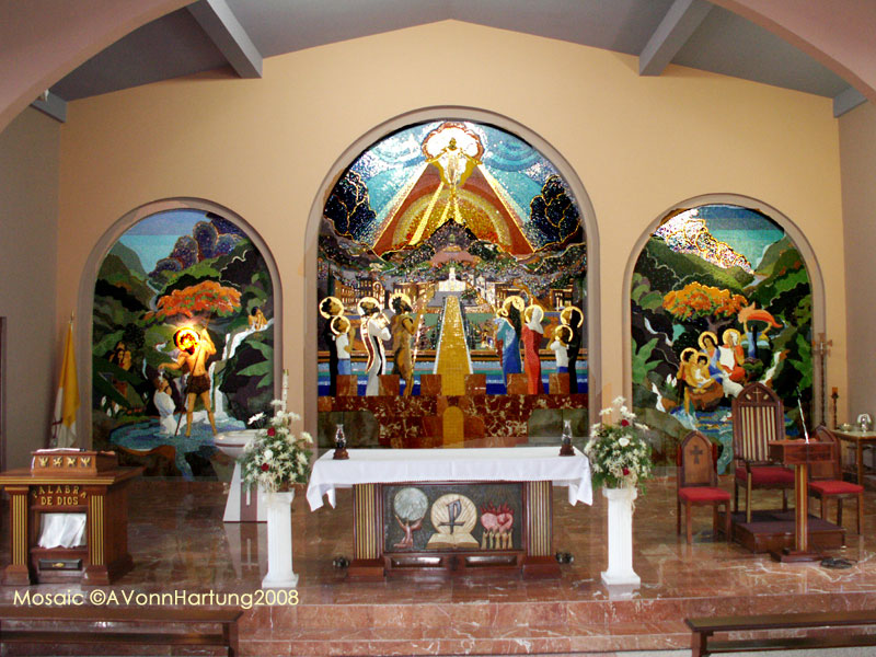"""The Life and Prophecy of St. John the Baptist"" mosic mural by AVonnHartung in Orocovis, Puerto Rico"