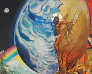 "Detail of painting ""On Earth as it is in Heaven"" by AVonnHartung"