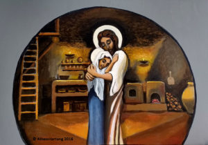 First Visit, Jesus visits His mother after he is resurrected, painting by A.Vonn Hartung