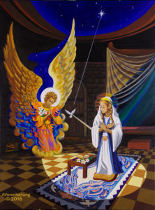 """""""Let it be Done"""", painting of the Annunciation by AVonnHartung for Walsingham UK"""