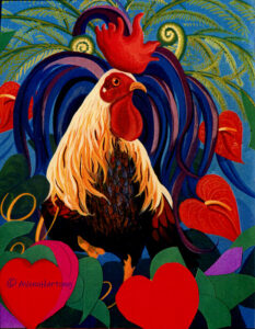 Good Morning, rooster painting by A.Vonn Hartung